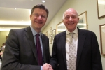 Councillor Julian Stanyer with Secretary of State for Business, Greg Clark MP